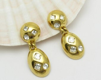 Long Rhinestone Earrings Vintage Napier Jewelry E7278