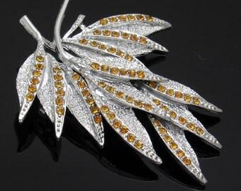 Vintage Rhinestone Leaf Brooch Dodds Gold Topaz Jewelry Costume Jewelry P7440