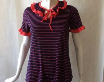 Early 1980's striped babydoll knit top, with ruffled short sleeves and split neckline, navy blue and red, small / medium