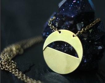Moon Phase Pendant, Crescent Moon, Half Moon Brass, Copper, Pagan, Celestial, Magic, Layering, Boho Jewelry