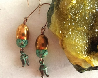 Verdigris Patina Copper Earrings - Turquoise Green Tulip Dangles
