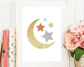 Moon And Stars Print, Glitter Print,  Gold And Silver Sparkle Nursery Print #makeforgood Make for Good Campaign
