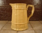 Large old Stoneware batter pitcher- Ridway- bamboo motif with rope styled handle, beautiful, great condition, solid