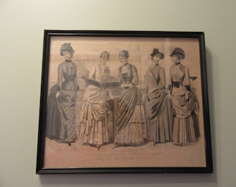 Old fashion print framed- Les Modes Parisiennes- under glass in vintage wood frame- beautiful, solid, ready to hang in your home