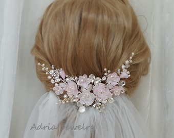 Pink Bridal Fascinator  Wedding Hair Comb Blush Pink Bridal Headpiece with Crystals Pearls and Flowers  Bridal Combs Blush Pink Fascinator