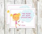 Blonde Mad Scientist Valentine - Class Valentine Printable - You Blow My Mind Valentine - Girl Scientist Valentine