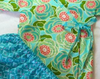 Baby kimono set - LivvySue Kimono Amy Butler Dream Weaver - 0-6 mths, 6-12 mths, 12-18 mths, 18-24 mths
