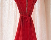 Vintage Dress - 70s 80s Polka Dot Red and White Button Front