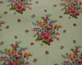Sweet Bouquets- Vintage Fabric Novelty Corduroy Roses Mint Green