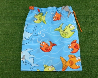 Piranhas drawstring bag for school library books, kindy sheets, storage, toys
