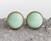 Mint Green Opaque Resin Post Earrings