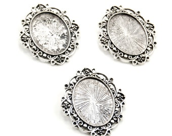 Set of 3 Gothic / Boho Antiqued Silver Plated Cameo Settings with Back Bail and Rhinestone Settings - 18x25mm