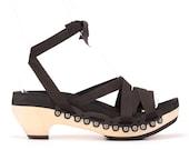 Mid Heel Ribbon Sandals   Custom, Vegan, Handmade   Black or White Color Options