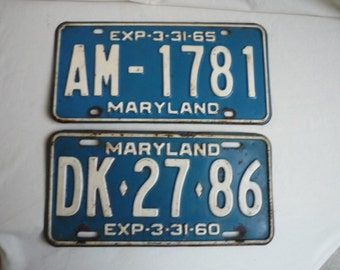 Vintage 3 Maryland License Plates '58, '60, '65 with exact expiration date, Man Cave, Collectible, Fathers Day, Garage