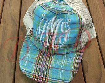 Plaid baseball Hats with Monogram