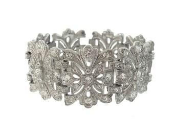 Art Deco Bracelet, Vintage Rhinestone Statement Cuff, Antique 1920s Art Deco Jewelry, Wedding Jewellery
