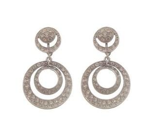 ORA Vintage Designer Earrings, Crystal Hoops, Rhinestone Dangle Clip On, 1940 Fine Designer Vintage Jewelry