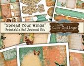 Spread Your Wings Printable Journal Kit, 5x7 Journal Pages, Scrapbooking, Decoupage, Mixed Media Art, Digital Journal Kit, Junk Journal