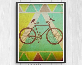 Boho Chic Printable Wall Art - Bike Digital Download - Printable Art - Print Your Own Images for Home Decoration - Decoupage Paper