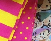 New knit fabric trio dots and stripes and Disney Snowwhite 1/2 yard of each