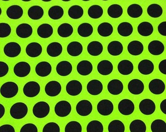 Monster green with black dots 1 yard cotton lycra knit NEW