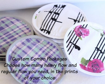 Combo package,You CHOOSE prints and how many you need, Nursing  Pads, reusable nursing pad,PUL, flannel