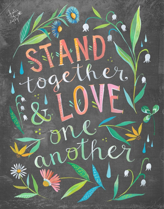 Short Slogans On Unity: Stand Together Print Unity Quote Watercolor Quote
