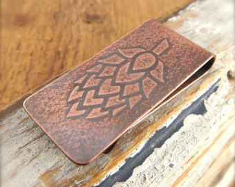 Hops money clip, beer lover's gift, copper money clip, homebrew, gifts for guys.