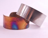 CLEARANCE steel hares cuff, stainless steel bangle, medium surgical steel cuff, coloured steel bracelet
