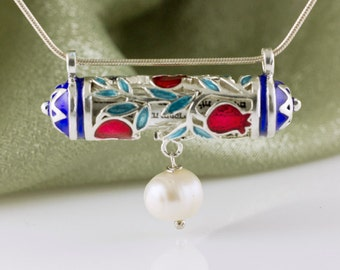 Judaica Jewelry Necklace Red Pomegranate Horizontal Jewelry Mezuzah Pendant w Pearl Blue Stars of David Sterling Silver Enamel Jewish Gift
