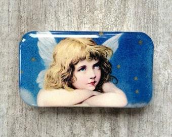 Angel tin, pill box, earring case