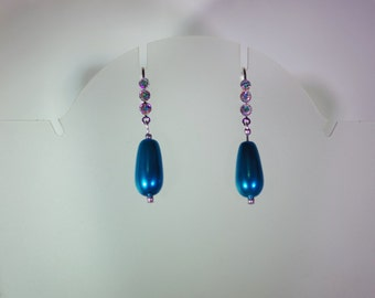 Pearl Bridal Earrings - MADE TO ORDER in Any Colors - Glass Pearls - 1 Pr