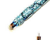 Cell Phone Easy Grip Mesh Tip Stylus with Easy Hold Grip in Teal Snowflakes Design for Phones, Tablets, other Electronics