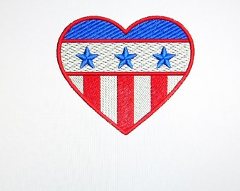 Bottle Cooler with Embroidered Patriotic Stars and Stripes in a Heart Shape on a Can Cooler with Machine Embroiderery and a Name