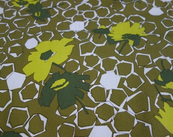 1970s Floral Fabric, Over 3/4 Yard of Olive Green Mod Floral Print Fabric by Klopman Mills, Vintage Geometric Floral Print in Greens/Yellows