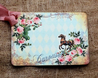 Carousel Horse Pink Rose Gift Tags Hang Tags or Scrapbook Tags or Magnet #537