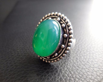 GREEN QUARTZ 7.5 In Sterling Silver Ring~Soothing Pain Energy Stress Boho