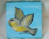 Little happy yellow bird flying through the air painting