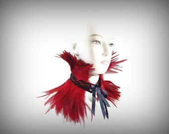 Red Feather Choker, Red Feather Collar, Red Feather Neck Corset for Costumes, Burlesque, Photo Shoots, Special Events