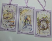 Lavender gift tags or bookmarks vintage style teacups birdies tea time spring shabby chic feminine birthday mothers day - set of 6