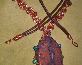 Lightning Struck Oak Pendant with Bind runes and Copper/Leather Necklace