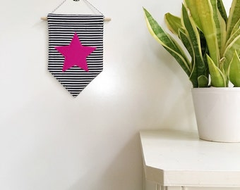 Star Felt Banner *PINK*, felt banner, wall banner, pennant, wall decor, wall hanging, nursery decor, pink star decor