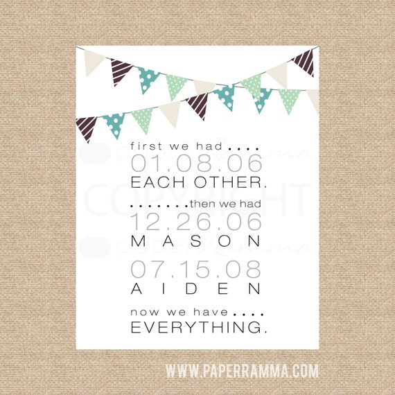 Paper Anniversary, First We Had Each Other, Home Decor Wall Art, Rustic Prints, Bunting Art, Family Home Decor // N-G66-1PS AA3 06P