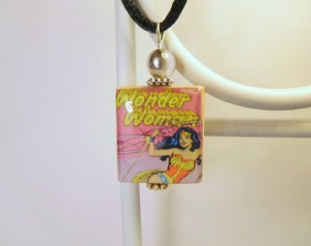 WONDER WOMAN Jewelry / Super Hero Pendant / Upcycled SCRABBLE Art / Charm / Necklace