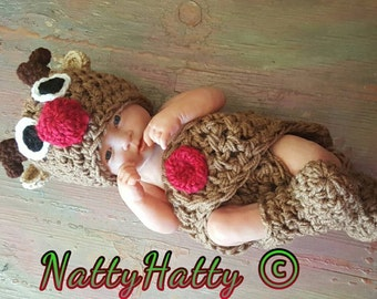Rudolph The Red Nose  Set Hat and Diaper cover  Please read shop Announcement Before buy