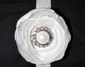 White Singed Satin Organza Flower Glitter Headband Elastic Pearl Rhinestone Button Center