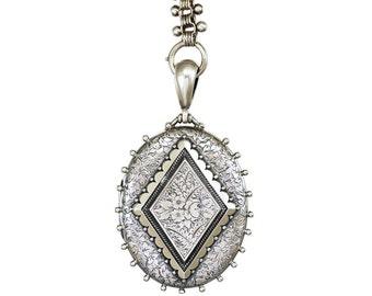 Sterling Silver Locket Book Chain Necklace, Antique Victorian Collar Locket Necklace, Birmingham England 1800s, Antique Wedding Keepsake