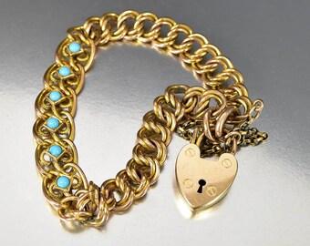 Antique Gold Curb Chain Turquoise Bracelet, English Heart Padlock Bracelet, Antique Padlock Victorian Bracelet, Gold Chain Bracelet,