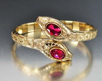 Art Deco Snake Bracelet, Gold Bangle, Wrap Bracelet, Antique Jewelry, Ruby Glass, Art Deco Jewelry, Andreas Daub Cuff Bracelet