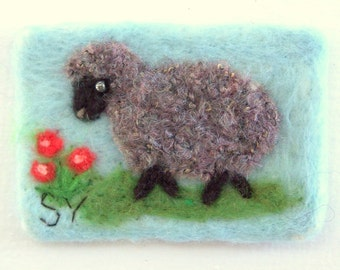 "Original ACEO Needle Felted Wool Painting 2 1/2"" x 3 1/2""  Black Sheep Lamb Landscape"